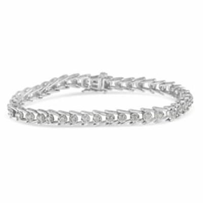 Sterling Silver Rose-cut Diamond Wave link Bracelet (1 cttw, I-J Color, I3 Clarity)