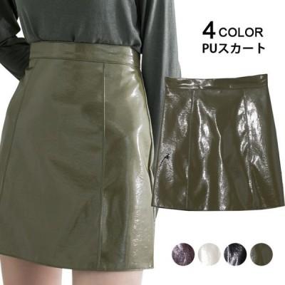 スカート レディース PUスカート KL レザースカート フェイクレザー PUレザー ミニスカート 光沢感 Aライン 台形スカート 無