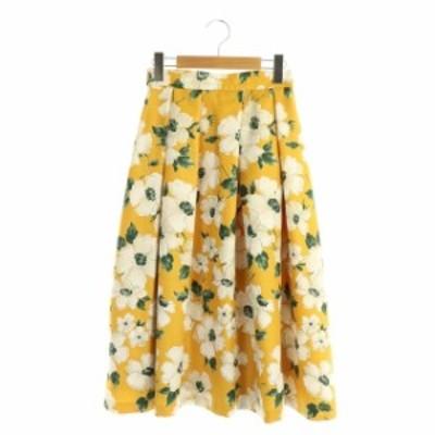 【中古】レッセパッセ LAISSE PASSE フレアスカート ロング タック 花柄 フラワープリント 36 黄色 白