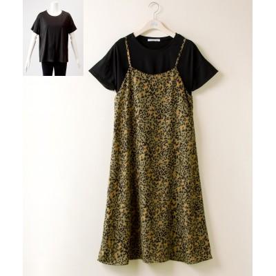 【大きいサイズ】 2点セット(キャミワンピース+プルオーバー) ワンピース, plus size dress