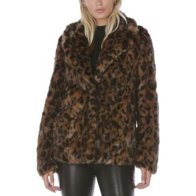 タハリ Tahari レディース コート アウター Leopard-Print Faux-Fur Coat Leopard