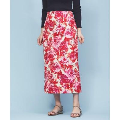 Rouge vif la cle/ルージュ・ヴィフ ラクレ フラワージャガードタイトスカート ピンク 36