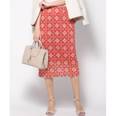 【ビッキー】 刺繍トルコレースタイトスカート レディース オレンジ系その他 M VICKY