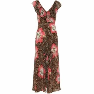 リキソ Rixo レディース ワンピース ワンピース・ドレス Antoinette printed silk dress Camel Coral