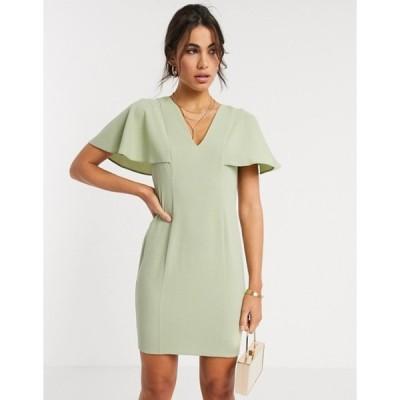 エイソス レディース ワンピース トップス ASOS DESIGN angel sleeve v neck mini shift dress in sage green