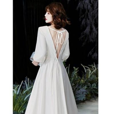 ウエディングドレス オーダー 二次会 aラインドレス ワンピース 海外挙式シンプルロングドレス デザインから選ぶ