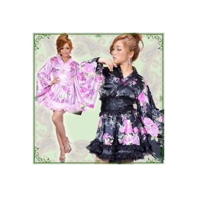 着物 ドレス 着物ドレス 大人気 即日発送 レースフリルサテン花柄花魁ミニ着物ドレス0322キャバ嬢・キャバドレス・花魁・着物ドレス・キャバドレス・着物