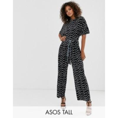 エイソス レディース ワンピース トップス ASOS DESIGN Tall plisse tie front jumpsuit in polka dot  Black/white spot
