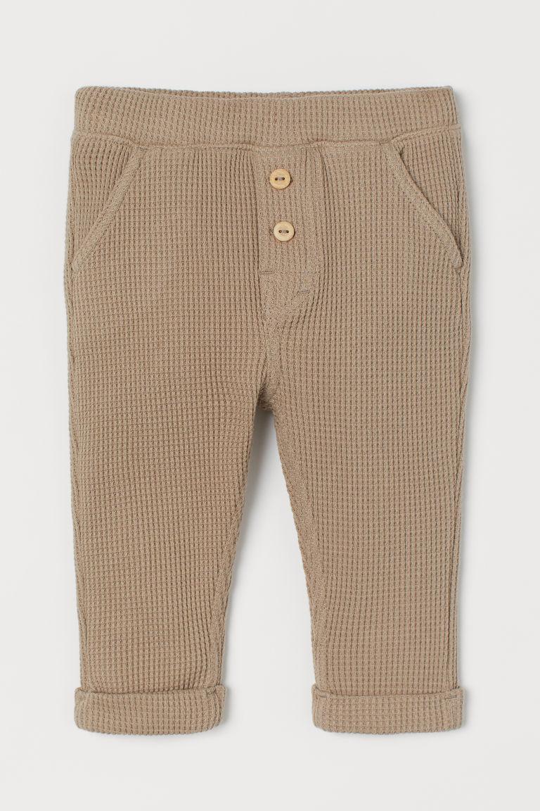 H & M - 華夫格長褲 - 米黃色