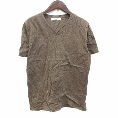 【中古】エディフィス EDIFICE Tシャツ カットソー 半袖 Vネック S 茶 ブラウン /CT メンズ