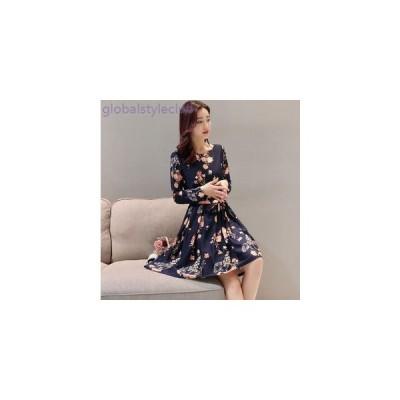 ワンピース ドレス パーティー 花柄 可愛い 大きいサイズ 春物 長袖 膝丈 レディース 女性 ネイビー