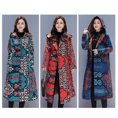 森系コート レディースロングコート 懐かしい民族風服麻と棉ミックス生地 長め厚め パーカー帽子付きコート 中国ノットボタンゆったりppk02