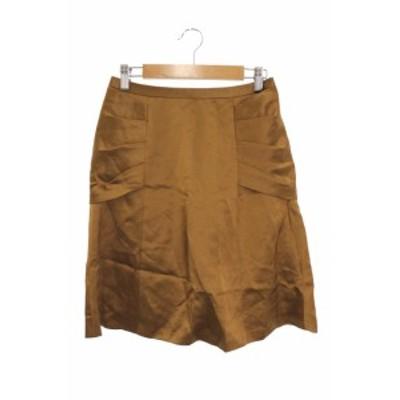【中古】アクアガール aquagirl スカート フレア ひざ丈 タック リネン 麻 36 茶 ブラウン /RI35 レディース