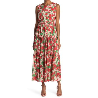メロデイ レディース ワンピース トップス Floral Tiered Maxi Dress PINK GREEN