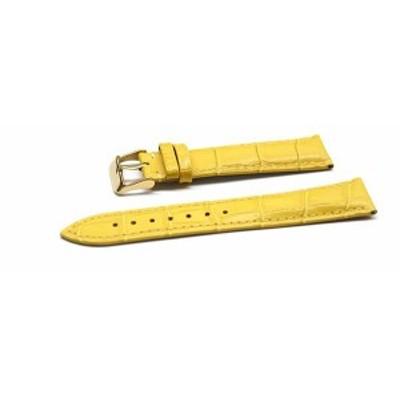 腕時計 ベルト 16mm 17mm 18mm 19mm 20mm 21mm 22mm 24mm レザー クロコダイル型押し 牛 革 黄 色 ピンバックル イエロー ゴールド l001y