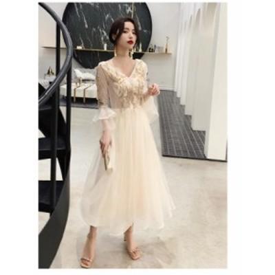 ロング丈ドレス 袖あり Aライン ワンピース ウエディングドレス パーティードレス 20代 30代 40代 結婚式 二次会 お呼ばれ 大きいサイズ