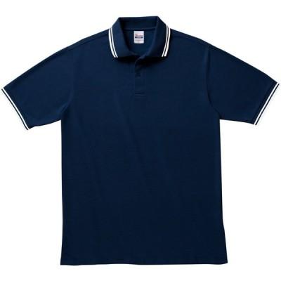 メンズ ポロシャツ 半袖 鹿の子 ライン入り 5.8オンス 無地 ネイビー×ホワイト S サイズ 191-BLP