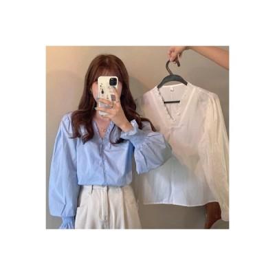 【送料無料】シャツ 女 アーリー 秋 フレンチ タイプ 襟 パフ シングル列ボタン 長袖   364331_A63664-5463376