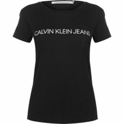 カルバンクライン Calvin Klein Jeans レディース Tシャツ トップス Tee CK Black