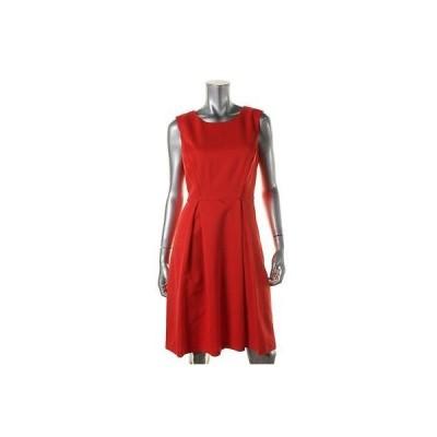 エレントレイシー ドレス ワンピース Ellen Tracy 5477 レディース オレンジ Textuレッド ノースリーブ Wear to Work ドレス 14 BHFO