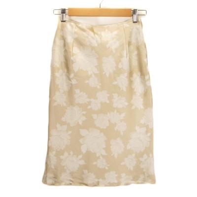 【中古】セシルマクビー CECIL McBEE スカート 花柄 バラ メロー サテン M ベージュ ゴールド レディース 【ベクトル 古着】