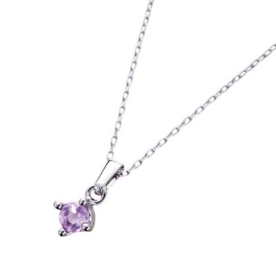 コモライフ 光るアメジストのネックレス 紫 紫水晶 緑色 約45×0.8×0.6cm 天然石 蓄光 2月誕生石 長さ無段階調節