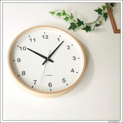 掛け時計 KATOMOKU plywood clock L-size ナチュラル km-33L 連続秒針 名入れ対応品