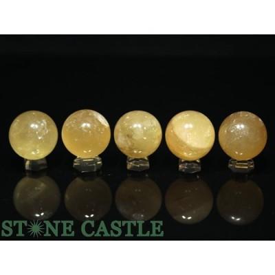 置石一点物 天然石 置き石 丸玉 ゴールデンカルサイト (5個セット) No.91 パワーストーン