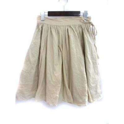 【中古】ミミ&ロジャー mimi&roger フレア スカート 38 M ベージュ コットン 無地 レディース
