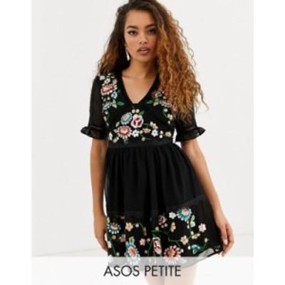 エイソス レディース ワンピース トップス ASOS DESIGN Petite embroidered mini dress with lace trims Black