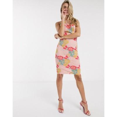 チチロンドン ミディドレス レディース Chi Chi Nemi lace dress in multi エイソス ASOS ピンク