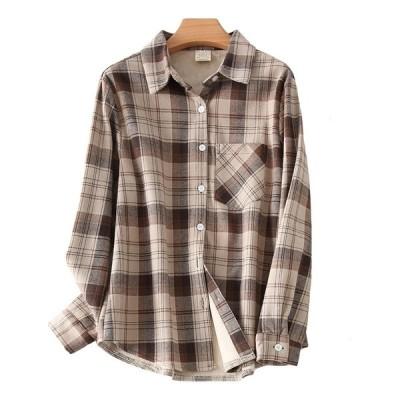 今季トレンド 折り襟 長袖 チェック柄 裏起毛 トップス シャツ