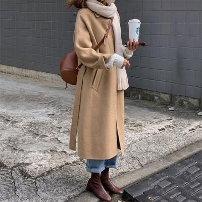 レディース コート オーバーコート ピーコート トレンチコート ロング 厚手 ラシャ OL 女子上着 アウター