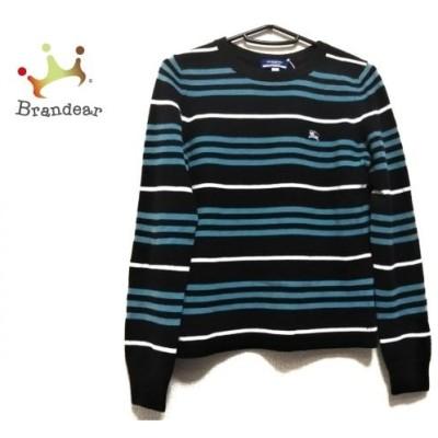 バーバリーブルーレーベル 長袖セーター サイズ38 M レディース 黒×ライトブルー×白 ボーダー 新着 20200616