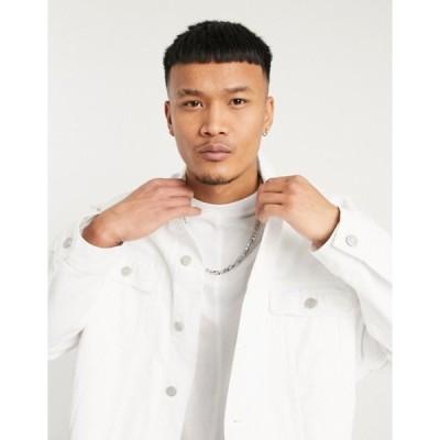 エイソス メンズ ジャケット・ブルゾン アウター ASOS DESIGN oversized denim jacket with rips in white