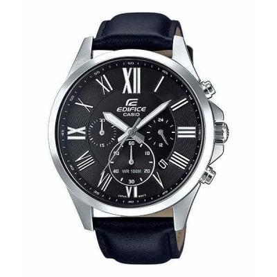 カシオ 腕時計 EFV-500L-1A Casio Edifice エディフィス メンズ クォーツ クロノグラフ Black Leather Band 47Mm Watch