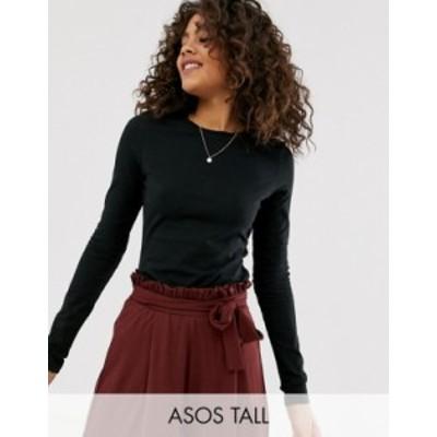 エイソス レディース シャツ トップス ASOS DESIGN Tall ultimate organic cotton long sleeve crew neck t-shirt in black Black