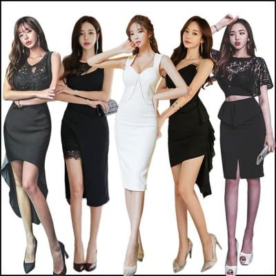 2019春夏新作/韓国ファッション/ワンピース/アイテム/タイドブランド/正式な場合、礼装ドレス セクシーなワンピース、一字肩 二点セット、側開、深いVネック やせて見える、ハイウエス NX070
