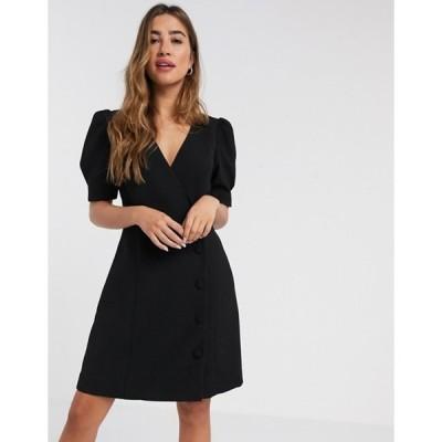マンゴ レディース ワンピース トップス Mango v neck button front dress in black