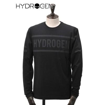 ハイドロゲン  HYDROGEN メンズ 長袖Tシャツ ブランドロゴ ブラック クルーネックカットソー プリント 同色デザイン でらでら ブランド 公式
