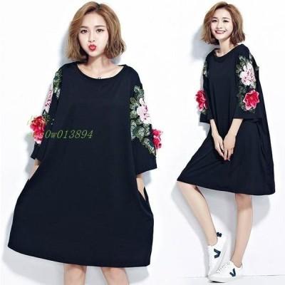 大きいサイズ Tシャツ レディース ワンピース 立体 フラワー ワンピースTシャツ お花
