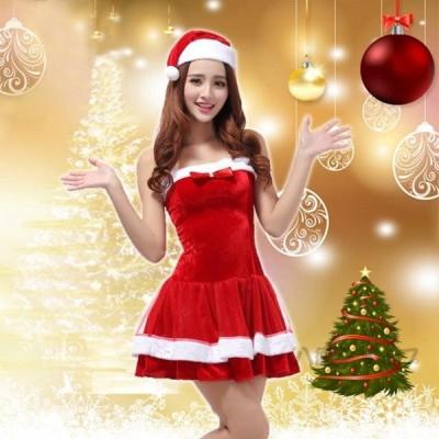 サンタ コスプレ レディース サンタクロース 衣装 2点セット コスチューム クリスマス サンタ 代引不可