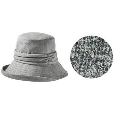 小顔に見える発熱蓄熱暖かUVギャザー帽子<美活計画>/グレー