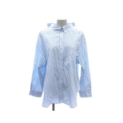 【中古】ミラオーウェン Mila Owen ボタンダウンシャツ ブラウス 長袖 ストライプ リボン 1 水色 /ST レディース 【ベクトル 古着】