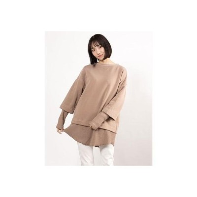 ジーラ GeeRA 【WEB限定】レイヤードスエット (モカベージュ)【Mサイズ】