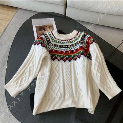 レディース ニットセーター ケーブル編み ゆったり 着痩せ クルーネック 無地セーター 冬 セーター トップス ニット プルオーバー おしゃれ 秋冬 可愛い 保暖