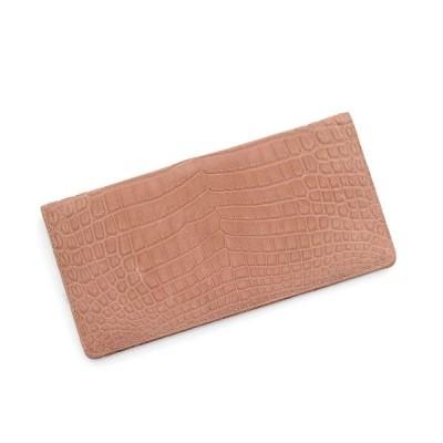【サンキョウショウカイ】 クロコダイル 財布 マット加工 センター取り 一枚革 薄型 長財布 カードケース / レディース ユニセックス ピンク系1 FREE sankyoshokai