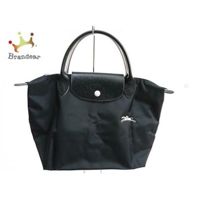 ロンシャン LONGCHAMP ハンドバッグ - 黒 刺繍/折りたたみ ナイロン×レザー 新着 20201006