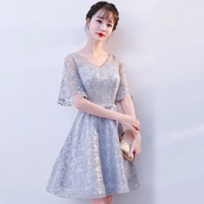 パーティードレス 結婚式 二次会 ワンピース 結婚式 お呼ばれ ドレス 20代 30代 40代 結婚式 お呼ばれドレス Vネック パーティー ドレス