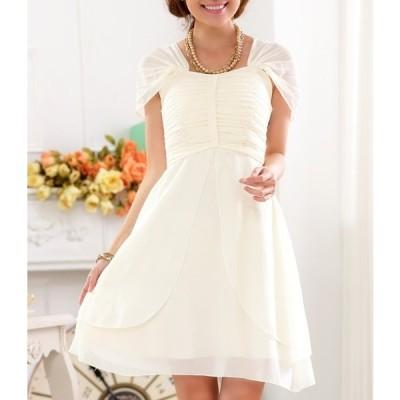 ドレス シフォン 袖あり フェミニン 結婚式 大きいサイズ